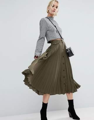 ASOS Button Through Pleated Midi Skirt $48 thestylecure.com
