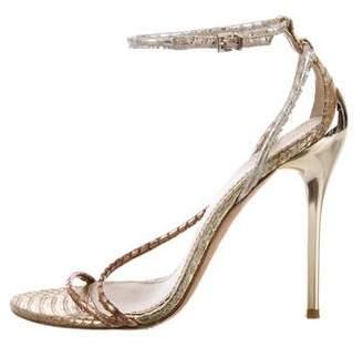 Brian Atwood Metallic Embossed Sandals