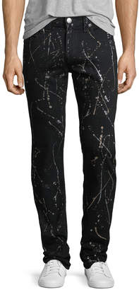 True Religion Paint-Splattered Skinny Flap-Back Jeans