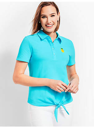 Talbots Tie Front Polo Shirt