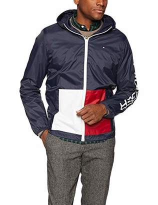 Tommy Hilfiger Men's Lightweight Hooded Color Block Pocket Rain Jacket