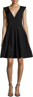 Halston V-Neck Cap-Sleeve Fit-and-Flare Cocktail Dress