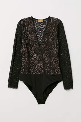 H&M Lace V-neck Bodysuit - Black