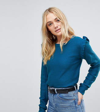 Brave Soul Tall Sweater With Shoulder Frill
