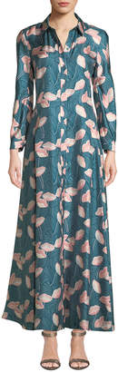 Lafayette 148 New York Siya Long-Sleeve Button-Front Graphic Floral Silk Dress
