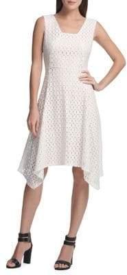 DKNY Fit--Flare Lace Midi Dress