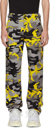 Balenciaga Grey and Yellow Camo Cargo Pants