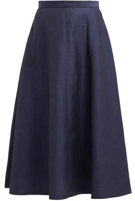 Junya Watanabe Herringbone Stripe Wool Blend Skirt - Womens - Navy