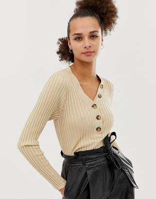 New Look button through rib top in camel