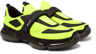 Prada Cloudbust Mesh, Rubber And Leather Sneakers