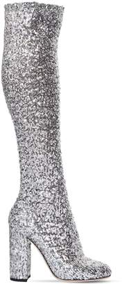 Dolce & Gabbana 90mm Stretch Sequins Over The Knee Boots