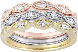 Affinity Diamond Jewelry Affinity 14K Tri-Color 2/5 cttw Set of 3 StackRings