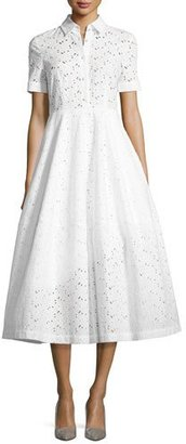 Co Eye Lace Tea-Length Shirtdress, White $875 thestylecure.com