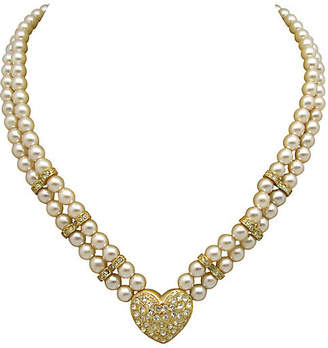 One Kings Lane Vintage Double-Strand Faux-Pearl Heart Necklace