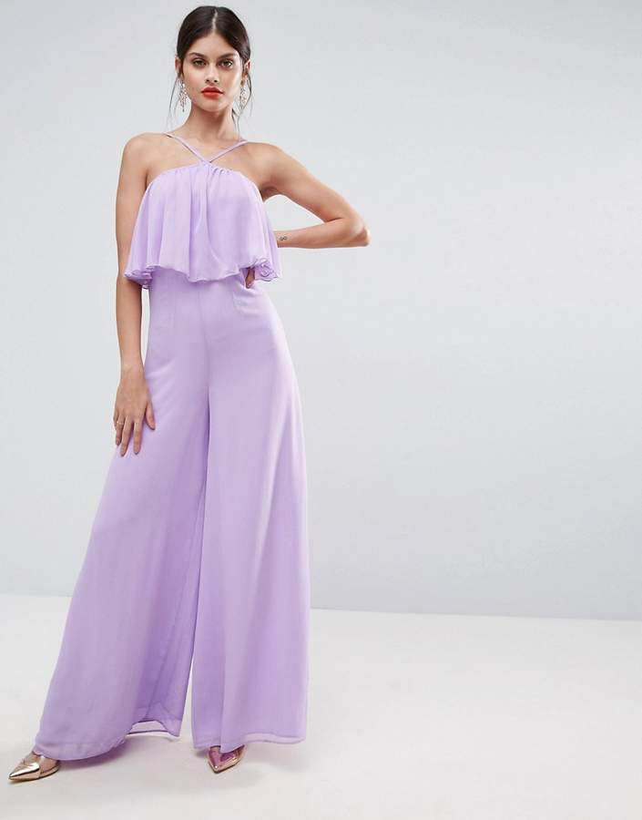 AsosASOS Jumpsuit in Crinkle with Wide Leg and Halter Neck