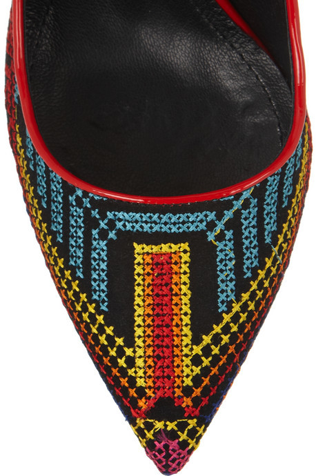 Nicholas Kirkwood Mexican embroidered patent-leather pumps