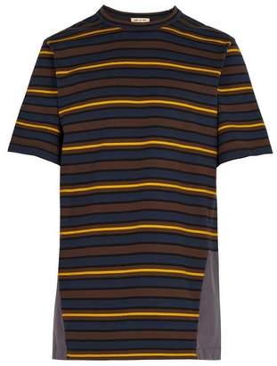 Marni Striped Contrast Panel Cotton T Shirt - Mens - Multi