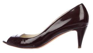 Rupert Sanderson Patent Leather Peep-Toe Sandals