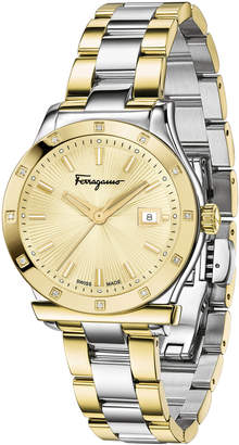 Salvatore Ferragamo 1898 33mm Round Diamond-Bezel Watch with Bracelet