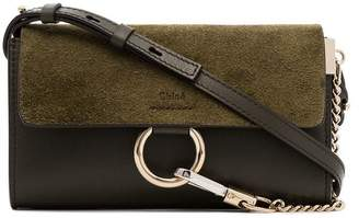 Chloé green faye leather wallet on chain bag