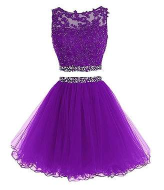 New Sposa Women 2 Piece Short Beaded Homecoming Dresses Applique Prom Dresses