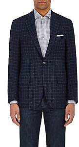 Isaia MEN'S SANITA CHECKED CASHMERE TWO-BUTTON SPORTCOAT-NAVY SIZE 40 R