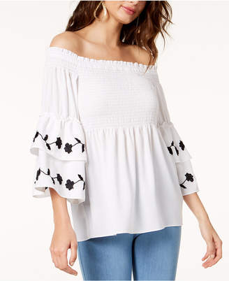Thalia Sodi Off-The-Shoulder Smocked Top, Created for Macy's