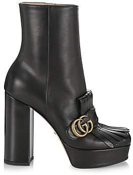 Gucci Women's Leather Platform Ankle Boots with Fringe