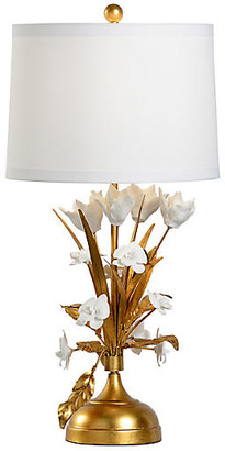 Chelsea House French Flower Porcelain Table Lamp - Gold Leaf