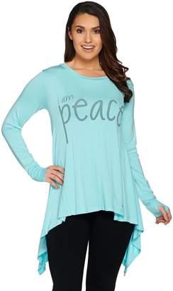 Peace Love World Long Sleeve Knit Top with Asymmetric Hem
