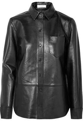 Equipment Brett Leather Shirt - Black