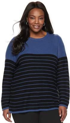 Croft & Barrow Plus Size Seed-Stitch Color Block Crewneck Sweater