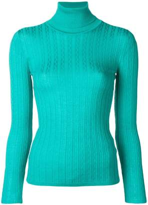 M Missoni textured turtleneck fitted sweater