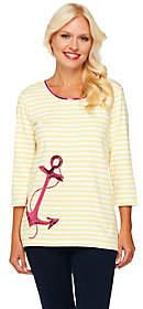 Factory Quacker Anchors Away Stripe 3/4 SleeveT-shirt