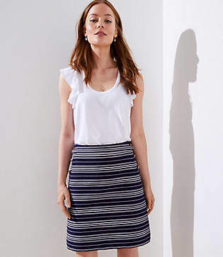 LOFT Striped Sailor Pocket Shift Skirt