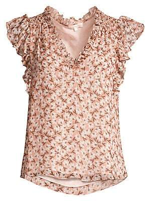 Rebecca Taylor Women's Lucia Floral Short-Sleeve Stretch Silk V-Neck Top