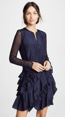 Jason Wu Grey Silk Long Sleeve Ruffle Dress