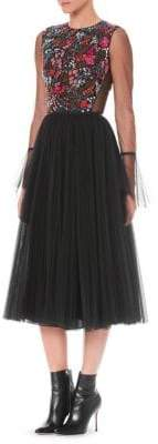 Carolina Herrera Sequin Embroidered Fit-&-Flare Dress