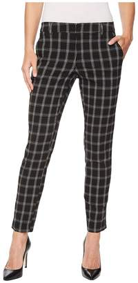 Liverpool Kelsey Straight Leg Trousers in Novelty Windowpane Print in Black Windowpane Women's Casual Pants