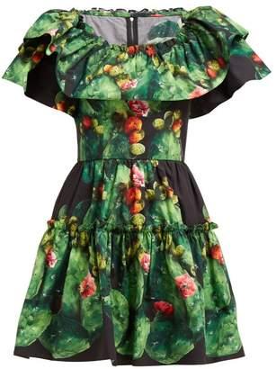 Dolce & Gabbana Cactus & Floral Print Cotton Poplin Mini Dress - Womens - Green Multi