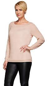 Halston H by Metallic Yarn V-Back Long SleeveSweater