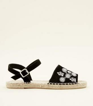 New Look Girls Black Embroidered Peep Toe Espadrilles