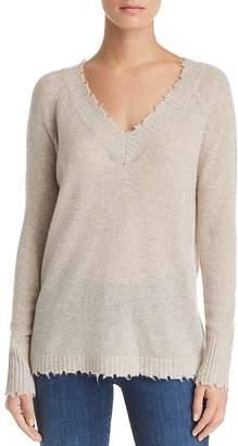 Minnie Rose Distressed Cashmere V-Neck Sweater