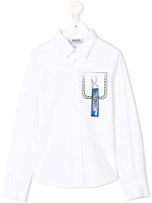 Moschino Kids chest pocket print shirt