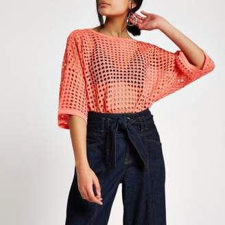 River Island Womens Coral open stitch metallic top
