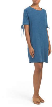Solid Knit Denim T-shirt Dress