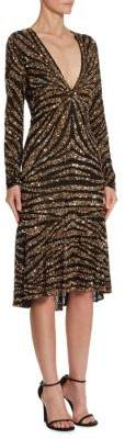 Naeem Khan Sequin V-Neck Dress