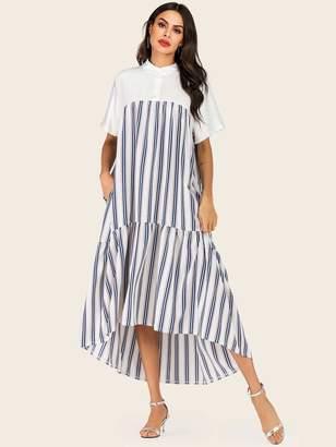 Shein Striped Button Half Placket Dress