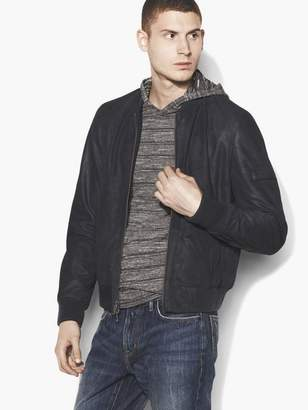 John Varvatos Leather Bomber Jacket