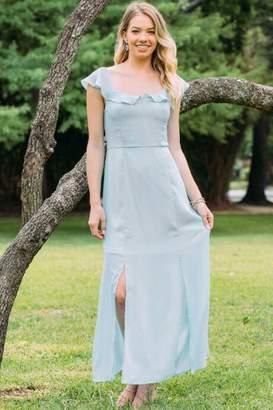 Grace Flutter Sleeve Bridesmaid Dress - Light Blue